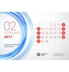 Desk Calendar for 2017 Year February Week Starts vector image