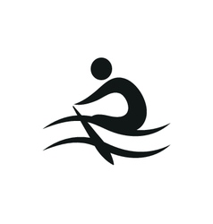 Rowing icon monochrome on white background vector
