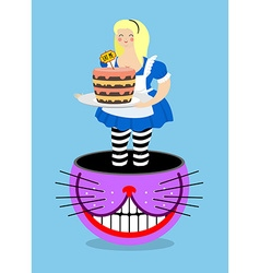 Alice in wonderland and cheshire cat old fat woman vector