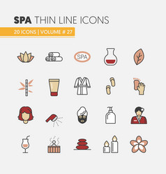 beauty and spa linear thin line icons set vector image