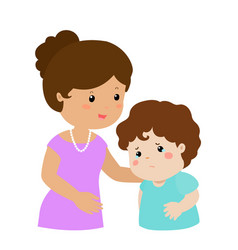 mother soothes crying son xa vector image