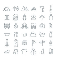 Summer tourism camping thin line flat icons vector