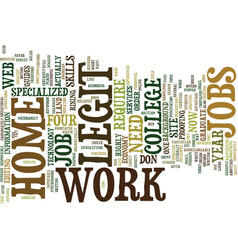 Legit work at home jobs text background word vector