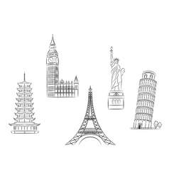 Travel landmarks set vector