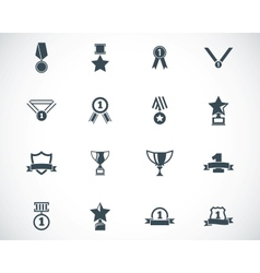 Black trophy and awards icons set vector