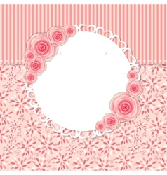 Cute Frame with Rose Flowers vector image
