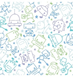 Fun doodle robots seamless pattern background vector