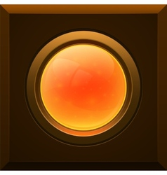 Orange glossy button vector image