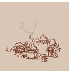 Set of tea cup in vintage style stylized vector
