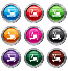 3d printer set 9 collection vector image vector image