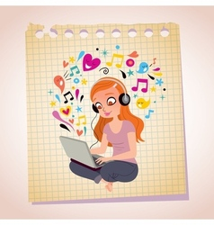 Headphones laptop redhead girl note paper cartoon vector
