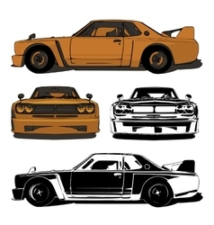 Old sports car set vector