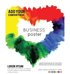Poster template with watercolor paint vector
