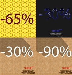30 90 icon set of percent discount on abstract vector