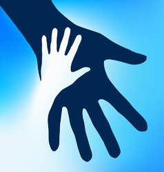 Helping hands child vector