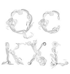 floral font letter q c k x l vector image