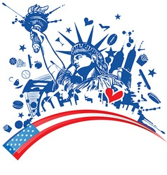 Statue of liberty with icon set on flag vector