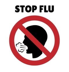 Stop flu sign coughing man in prohibition frame vector