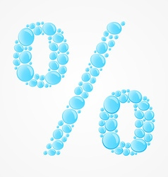 Percent sign water drops vector