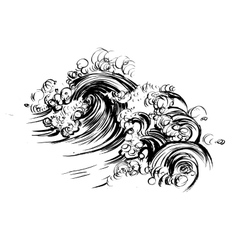 Waves brush ink sketch handdrawn serigraphy print vector