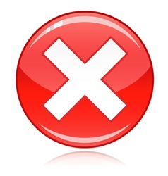 Red cross button - refuse wrong answer cancel vector