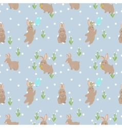 Seamless pattern with rabbit vector
