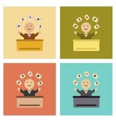 Assembly flat icons poker man player vector