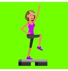 Fit woman stretching her leg to warm up - isolated vector