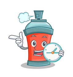 aerosol spray can character cartoon with clock vector image vector image