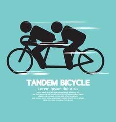Black Symbol Tandem Bicycle vector image