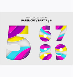 Carved paper art font design beautiful 3d vector