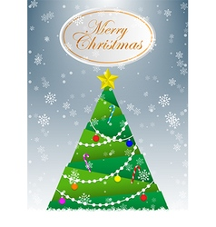 Christmas tree greeting card background vector