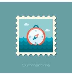 Compass flat stamp vector