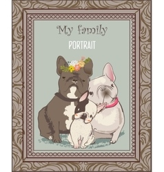 cute bulldog family portrait vector image vector image