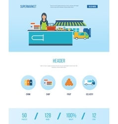 Design template with icons of supermarket store vector