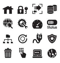 Ftp server and hosting icon set vector