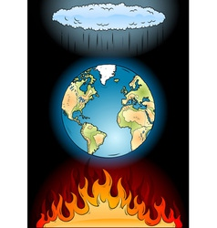 global warming on the black vector image