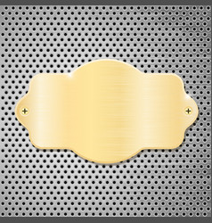 Golden plate on metal perforated background vector
