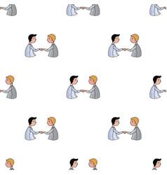 handshaking of businessmen icon in cartoon style vector image