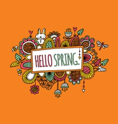 Hello spring hand drawn doodle orange vector