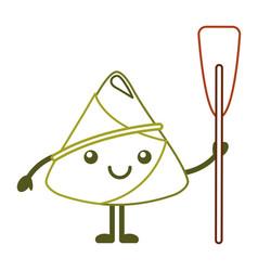 Kawaii happy rice dumpling holding wooden oar vector