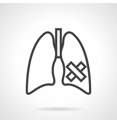 Lungs diseases simple line icon vector