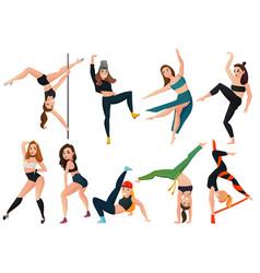 Modern types of dance set vector