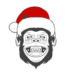 Monkey with santa hat vector