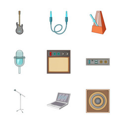 Music studio equipment icons set cartoon style vector