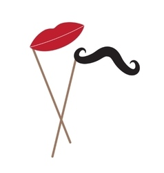 Mustache and lips on stick over white vector