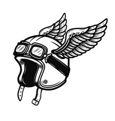 racer helmet with wings isolated on white vector image vector image