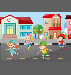 Scene with four kids skating on the road vector