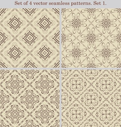 Set of 4 vintage seamless patternsSet 1 vector image