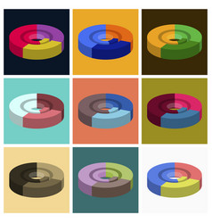 Set of flat icons on stylish background pie chart vector